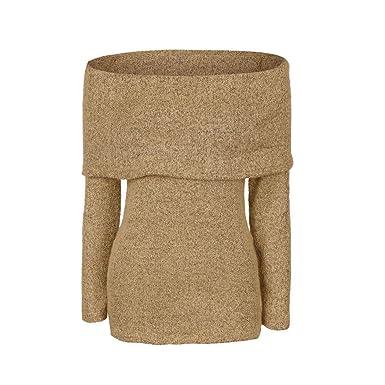 MIOIM Damen Langarm Off Shoulder Pullover Sweatshirt Stretch Strickpullover  Sweater Elegant Oberteil Tunika für Herbst Winter 801aae1c73