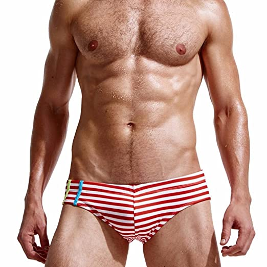 f8d1dd3e06 Amazon.com: Mens Striped Bikini Swimwear Soft,Men's Swimwear Sexy Swim  Briefs Board Surf Shorts Boxer Trunks Swimsuits: Clothing