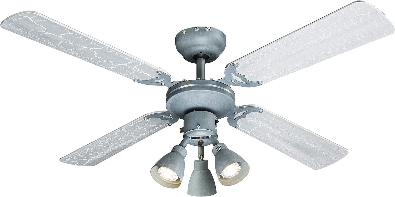 Ventilador de techo con luz & Interruptor de cordón, 2 alas Colores Cemento imitación/plata: Amazon.es: Iluminación