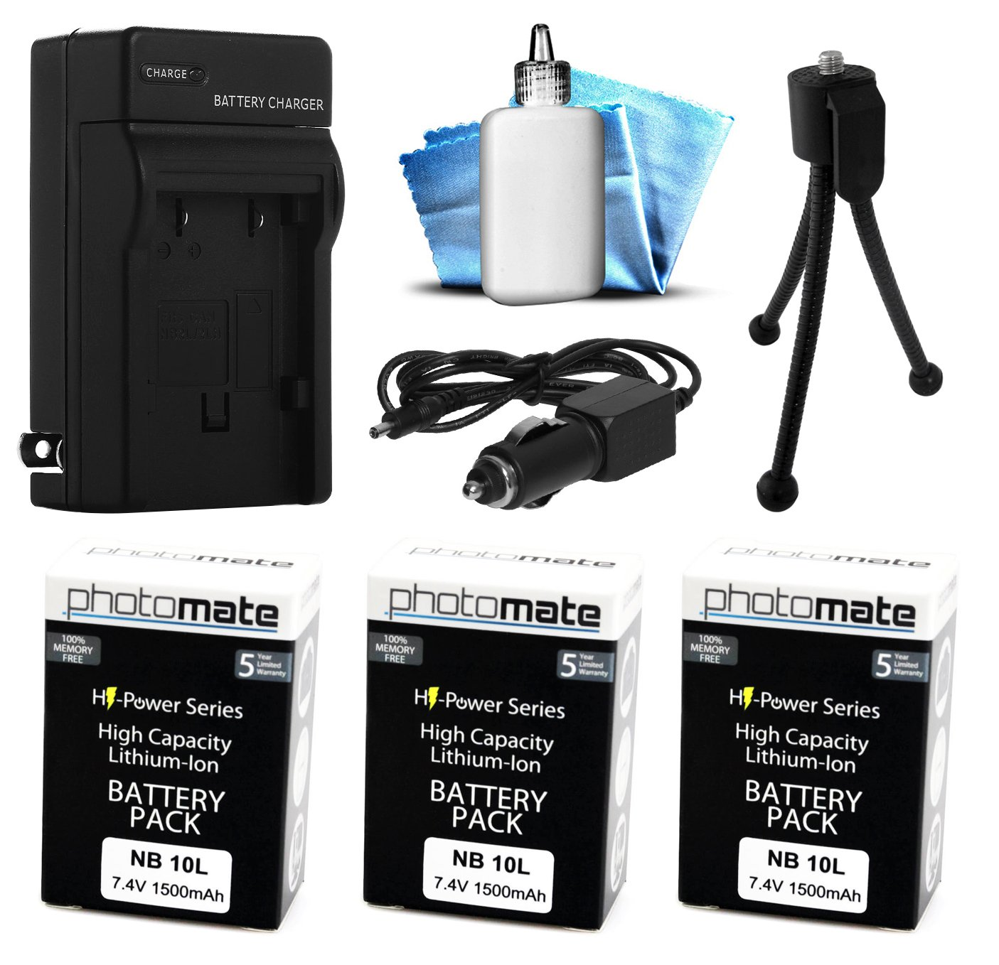 (3 Pack) PhotoMate NB-10L NB10L Ultra High Capacity Rechargeable Battery (1500mAh) + Rapid Home AC Wall Charger + Car Adapter + Euro Plug + Cleaning Kit + Mini Tripod for Canon Powershot SX40 HS, SX40HS, SX50 HS, SX50HS, SX60 HS, SX60HS, G1 X, G1X, G15, G