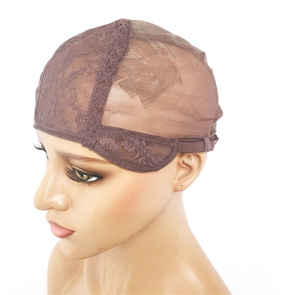 XRS Hair Wig Caps for Making Wig with Adjustable Sturdy Straps Swiss Lace Medium Brown Color Foundation Wigs Cap(Medium Size) by XRS Hair Wig (Image #6)