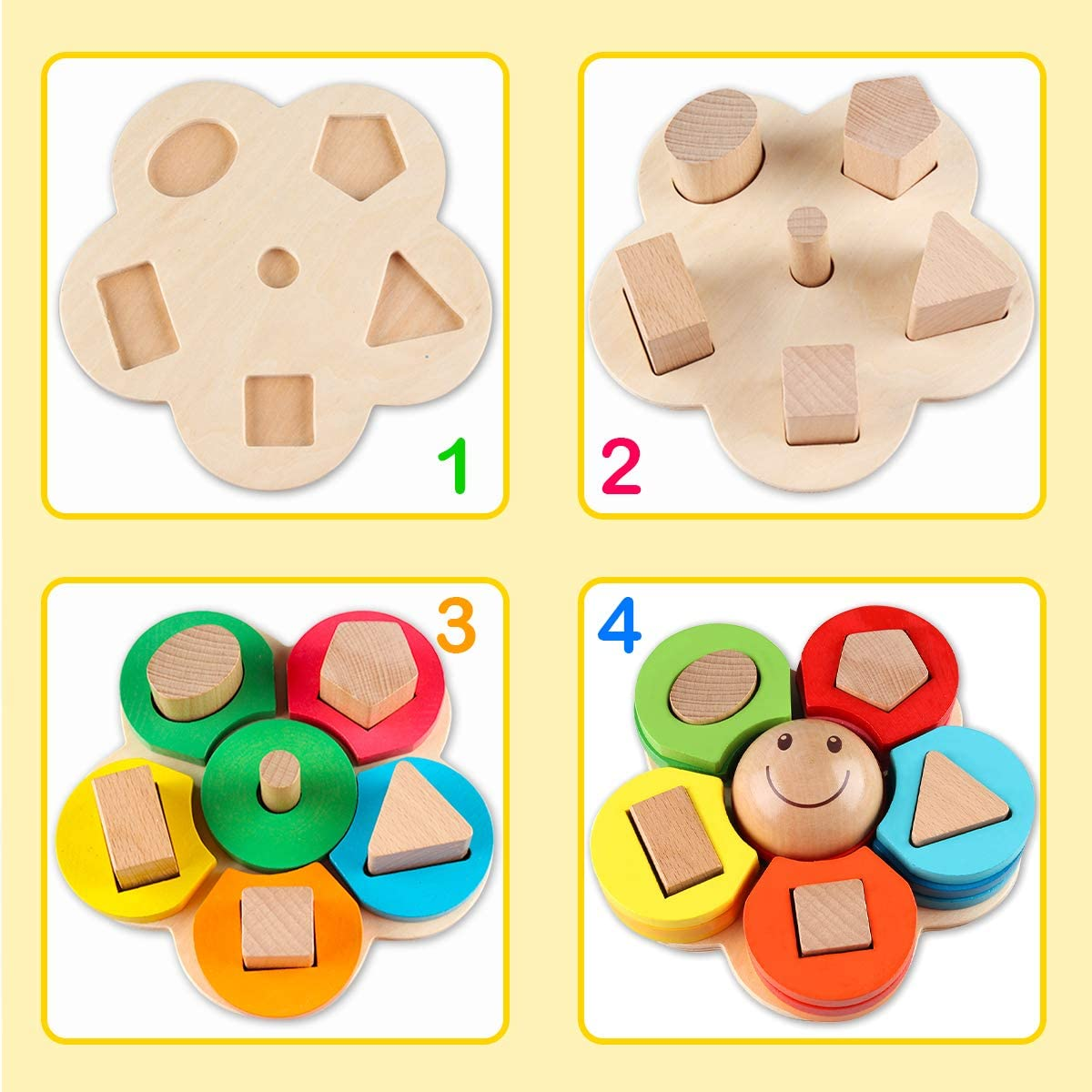 Vanmor Wooden Educational Toys for Toddlers Montessori Toys for 1 2 3 Year Old Kids Boys and Girls Learning Fine Motor Skills Preschool Shape Color Sorting Stacking Geometric Board Blocks Puzzle