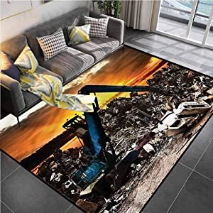 Area Rug Rugs Print Large Floor Mat Industrial,Recycling Car Junkyard Classroom Carpet for Living Room Bedroom Playing Room 5'x8'
