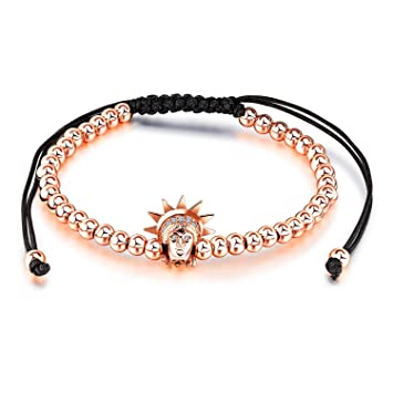 Sun Hero Pulsera Trenzada de Moda Simple Pulsera de Longitud Ajustable (Rosy Golden)