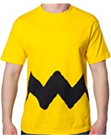Mighty Fine Men's Peanuts Yellow Charlie Brown Zig Zag Shirt