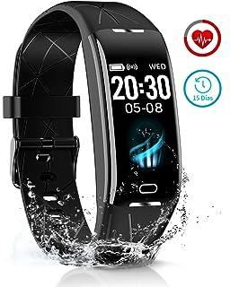 BANLVS Pulsera Actividad Inteligente, Pulsera Actividad Impermeable 68 con Largo Duración, Monitor Rítmo Cardíaco