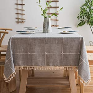 BUBIQUER Stitching Tassel Tablecloth, Cotton Linen Fabric Wrinkle Free Anti-Fading Dust-Proof Washable Tabletop Decoration for Kitchen Party (Grey Grid, 55''x70'')