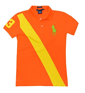 RL Big Pony Womens Polo with Sash, BrOrange w/Yellow, XS