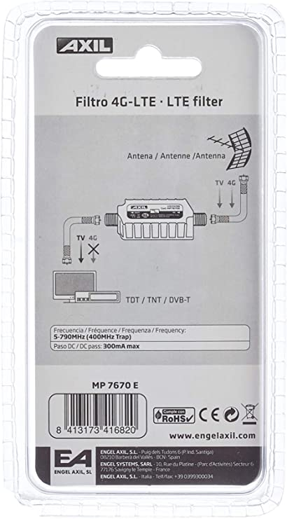 LTE FILTRO INTERIOR ANTI GSM (>790MHz/c61) EN FLOW PACK DIVIDENDO DIGITAL