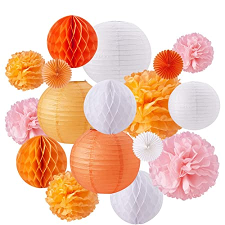 Tissue paper Honeycomb Ball Lanterns poms Wedding Birthday Party Home Decor USA