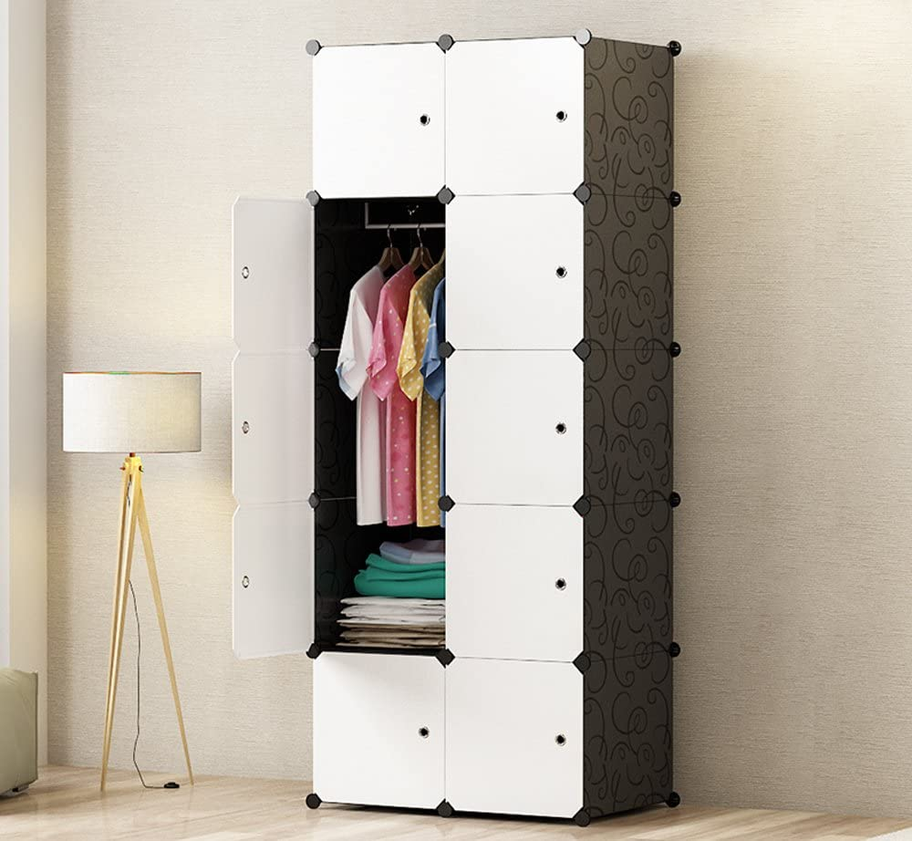 PREMAG Ideal Storage Organizer Cube Closet Portable Wardrobe Combination Armoire, Modular Cabinet for Space Saving(10-Cube)