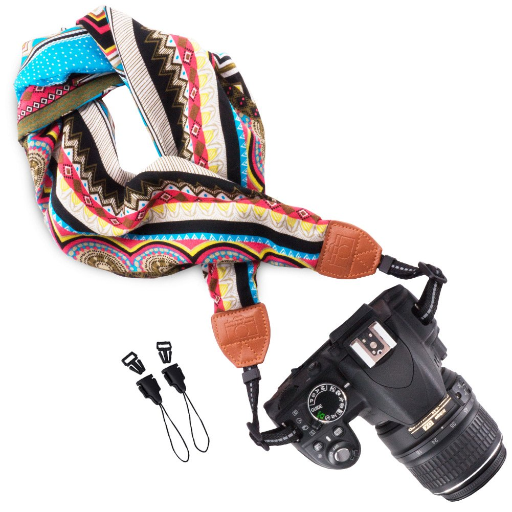 Wolven Soft Scarf Camera Neck Shoulder Strap Belt Compatible for All DSLR/SLR/Digital Camera (DC)/Instant Camera/Nikon/Canon/Sony/Pentax/Olympus/Leica/Fujifilm etc, Multicolored