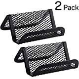 MaxGear Business Card Holder for Desk Metal Business Card Holders Mesh Business Card Holder Display Desk Business Card Stand Business Card Desk Holder with 50 Business Cards Capacity Black, 2 Pack