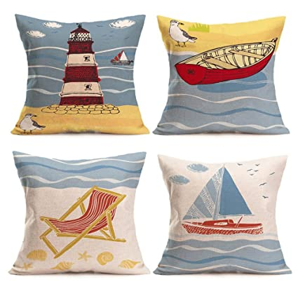 Amazon ULOVE Beach Pillow Covers 40 Pack Cotton Linen Coastal Cool Coastal Throw Pillow Covers