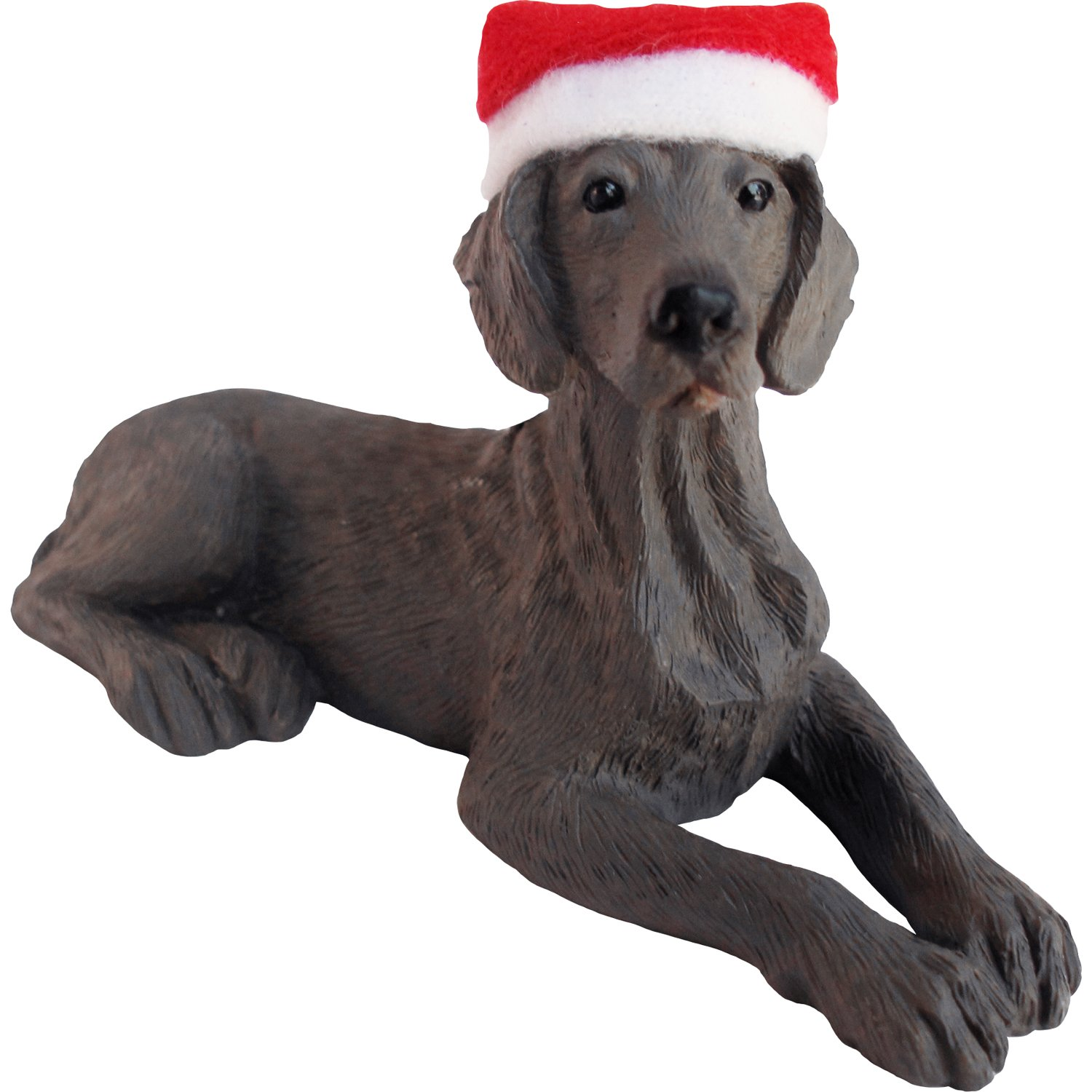 Sandicast Weimaraner with Santa Hat Christmas Ornament