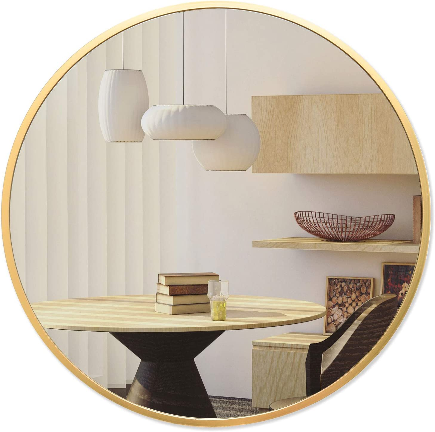 BEAUTYPEAK Circle Mirror Gold 30 Inch Wall Mounted Round Mirror with Brushed Metal Frame for Bathroom, Vanity, Living Room, Bedroom, Entryway Wall Decor (Gold, 30 Inches)
