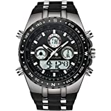 SPOTALEN Men's Sport Watch Waterproof Military Wrist Watches Multi-Functional Analog Digital Backlight Watches in Black Silicone Band Dial 1.78 inches
