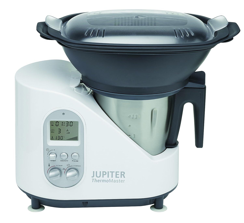 Jupiter Thermomaster 1500W 2L Negro, Acero inoxidable, Color blanco - Robot de cocina (2 L, Negro, Acero inoxidable, Blanco, Botones, Giratorio, 8000 RPM, ...