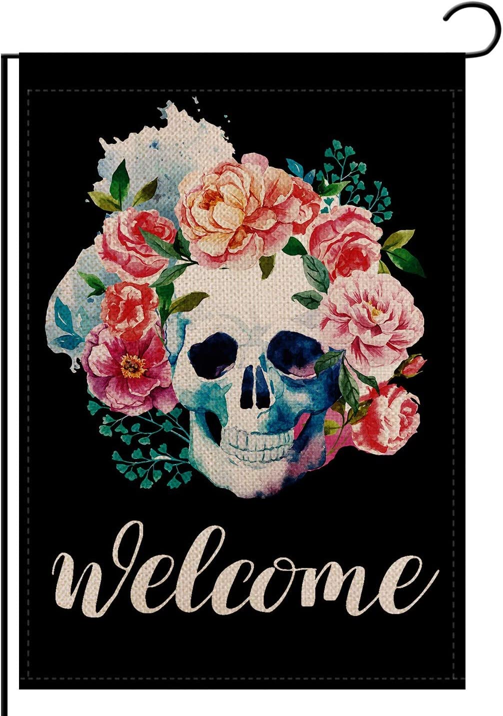 REUTGN Skulls Red Roes Flowers Summer Spring Welcome Garden Flag Double Sided, Welcome Seasonal Burlap House Flags, Yard Signs Farm Home Outdoor Decor 12.5 x 18 Inch