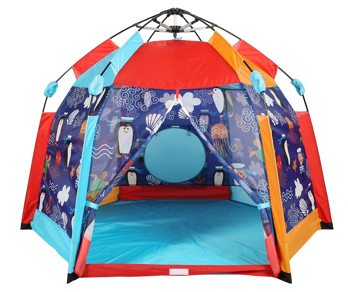 UTEX Automatic Instant 6 Kids Play Tent for Indoor/ Outdoor Fun,Kids Beach Tent Sun Shelter with Zippered Mesh Front, Camping Playhouse Indoor Playground, 66'' x 66'' x 44''(Sea Cabana) by UTEX (Image #1)