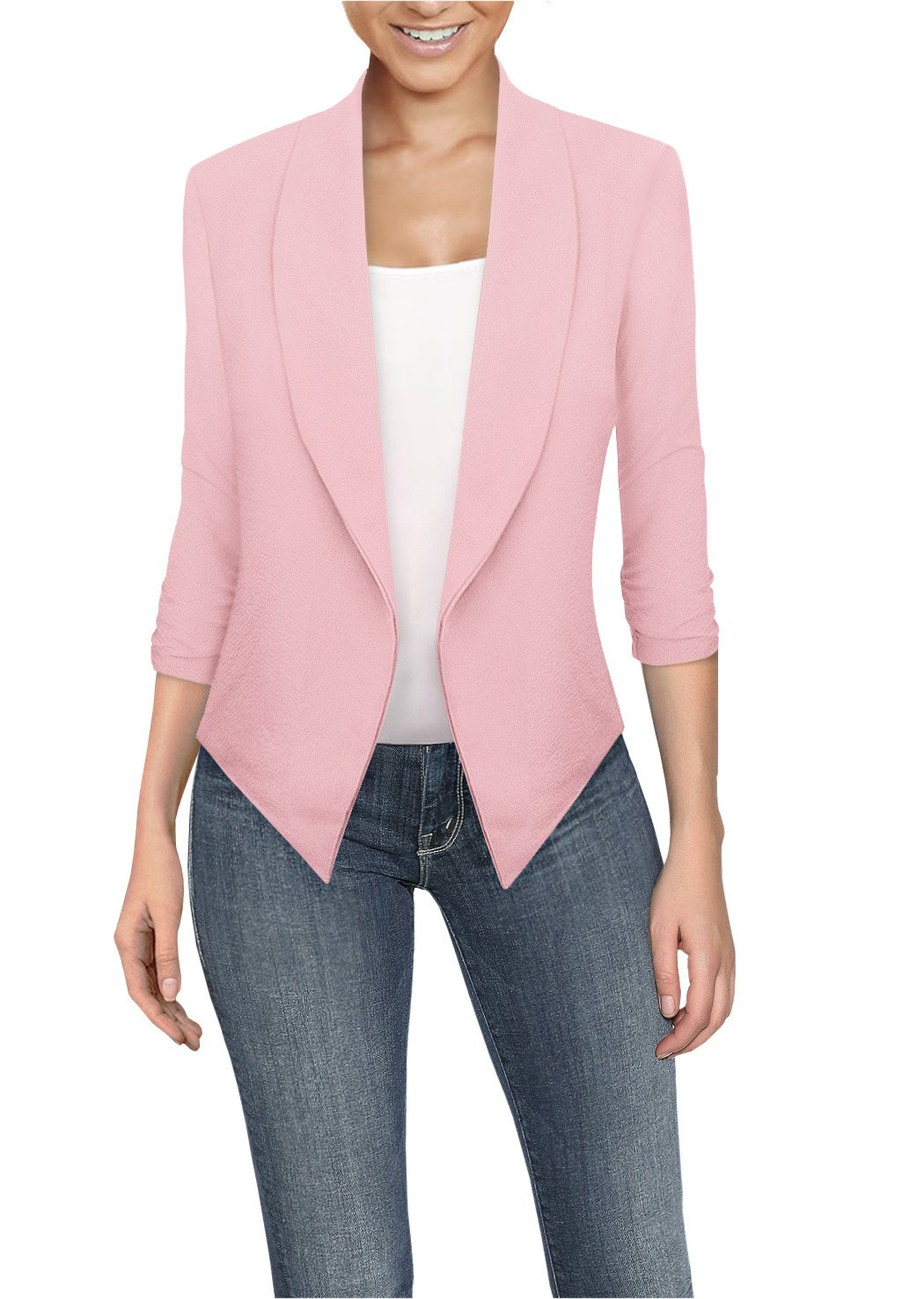 HyBrid & Company Womens Casual Work Office Open Front Blazer JK1133X Peach 1X