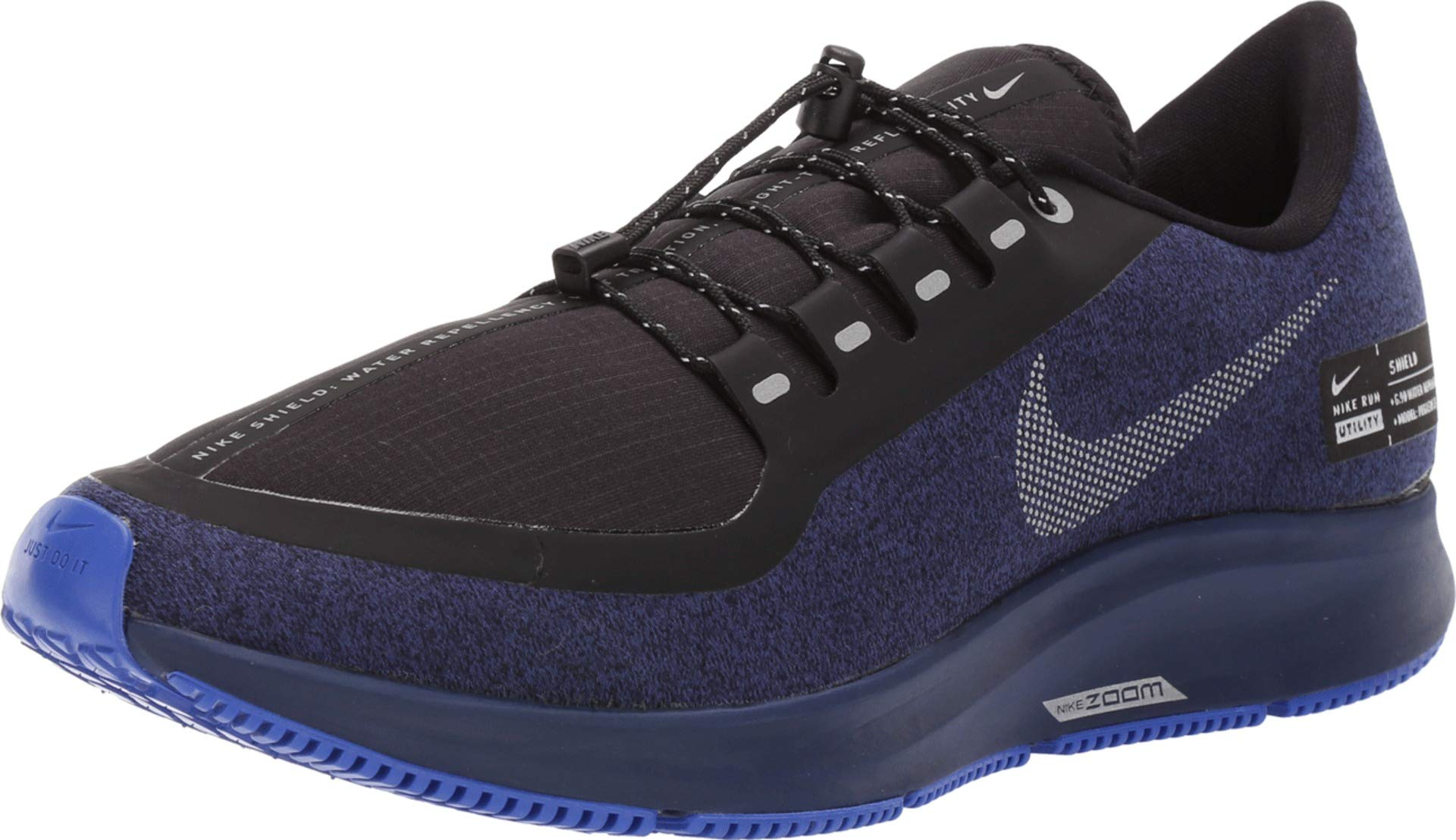 new product ed730 b5d78 Nike Air Zoom Pegasus 35 Shield Men's Running Shoe Black/Metallic  Silver-Blue Void 10.0