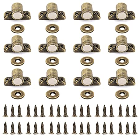 2pcs Useful Magnetic Door Latch Catches Cupboard Cabinet Wardrobe Catch /& Screws