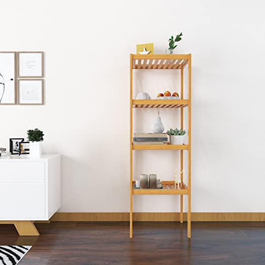 "4-Tier Multifunctional Bamboo Bathroom Shelf Storage Rack Shelving Unit 43.3/"""