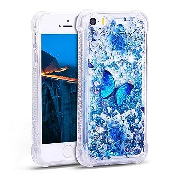 coque iphone 5 liquide paillette papillon