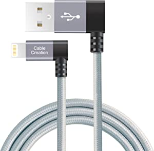 CableCreation iPhone Charger Cable 90 Degree, 4FT MFi Certified Braided Left Angle USB to Lightning Cable USB Charging Cord for iPhone 11, X, 8, 8 Plus, 7, 6, 6S, 5, iPad, Space Gray 1.2M