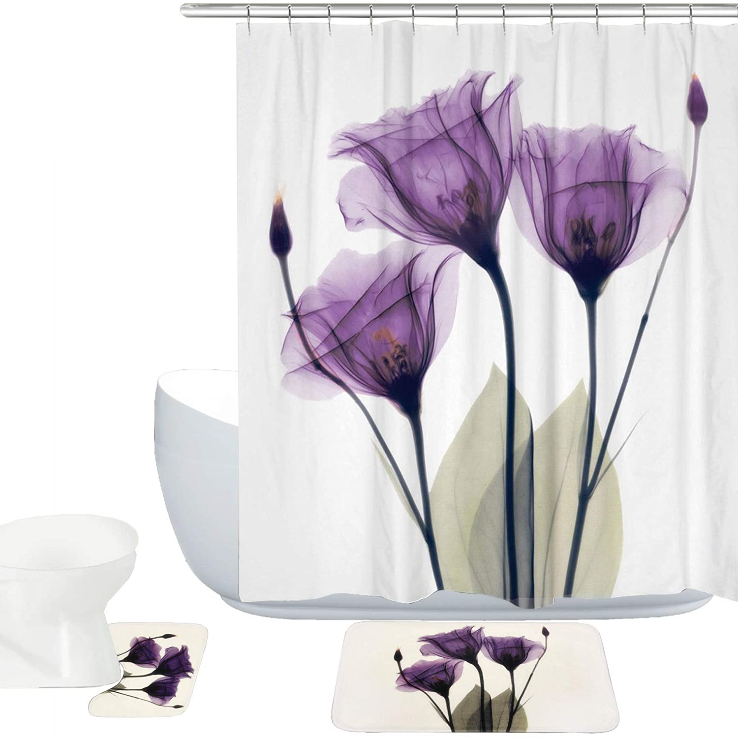 Amagical Purple Lotus Decor 15 Piece Bath Mat Set Shower Curtain Set Lotus Flower Pattern Decorative Design Bathroom Mat + Contour Mat + Shower Curtain + Hooks