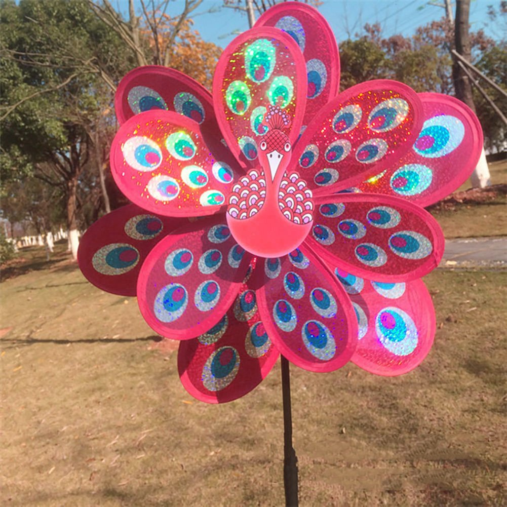 Autone Double Layer Peacock Sequins Windmill, Kids Colorful Wind Spinner Toy