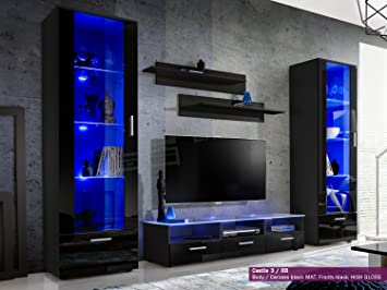 New Smart Living Room Furniture Set High Gloss Fronts Display