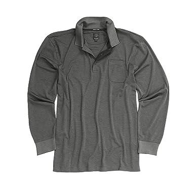 8be4356b1f4a Kitaro Langärmliges Poloshirt für Herren grau große Größen 3XL - 8XL,  Größe 3XL