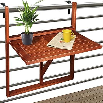 Deuba Balkonhängetisch Klappbar Fsc Zertifiziertes Akazienholz Hängend 64 X 45 Cm Balkontisch Hängetisch Balkon Geländer