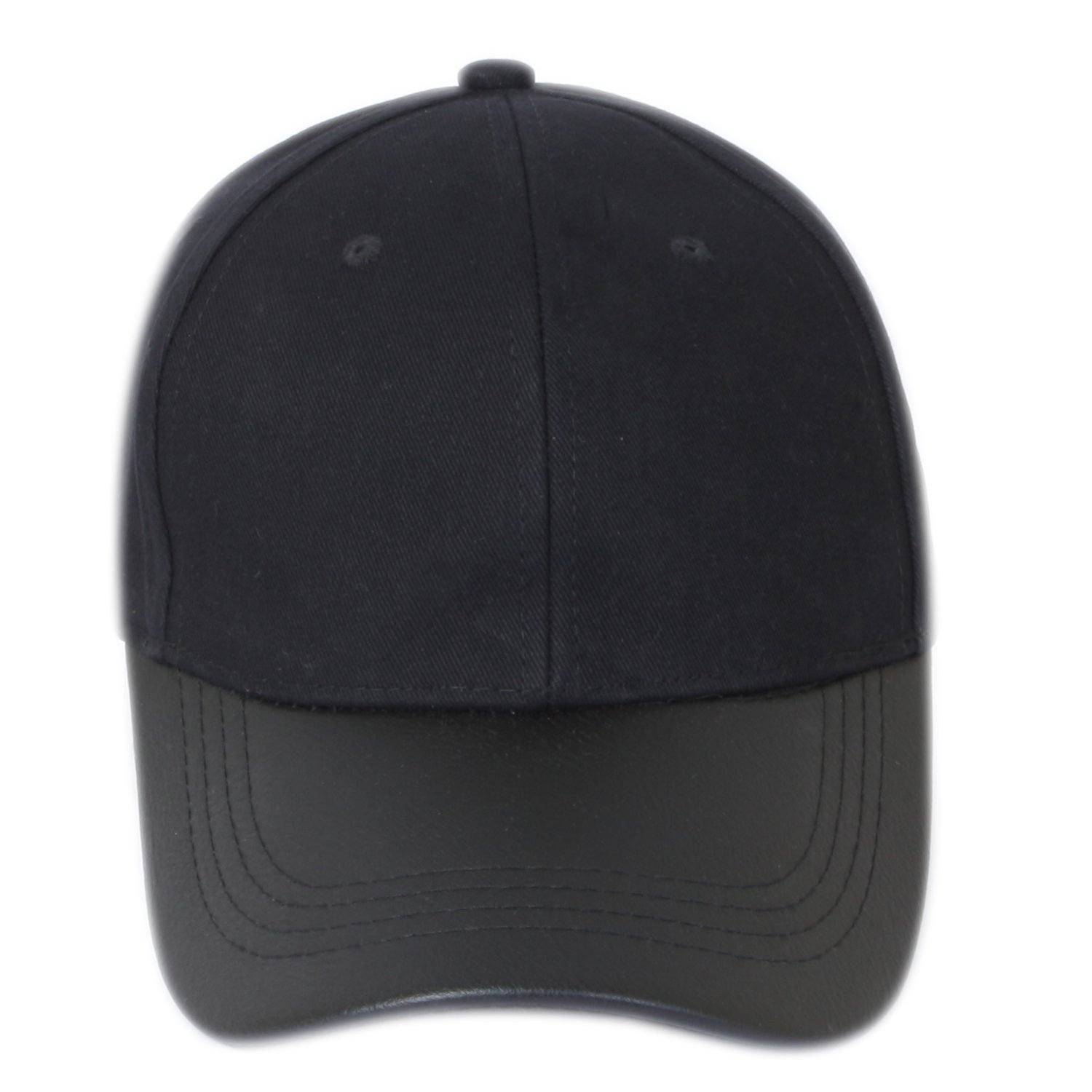 c490a0f0052 ILU Men s Faux Leather n Cotton Baseball Cap Black Freesize  Amazon.in   Clothing   Accessories