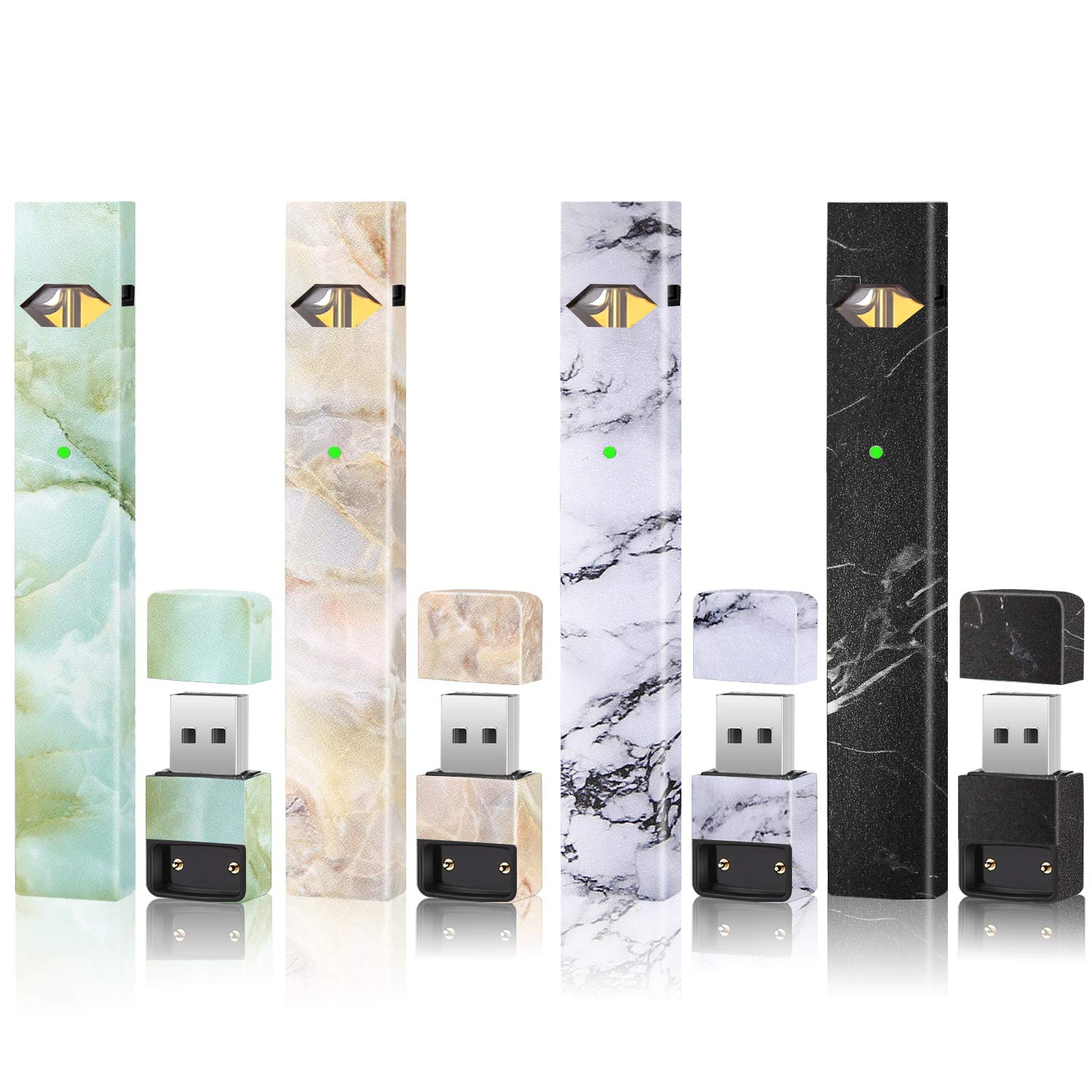 Skin Sticker Wrap Decal Compatible with JUUL(4 Different Marble Style)(4  Pack)(No Device Included)