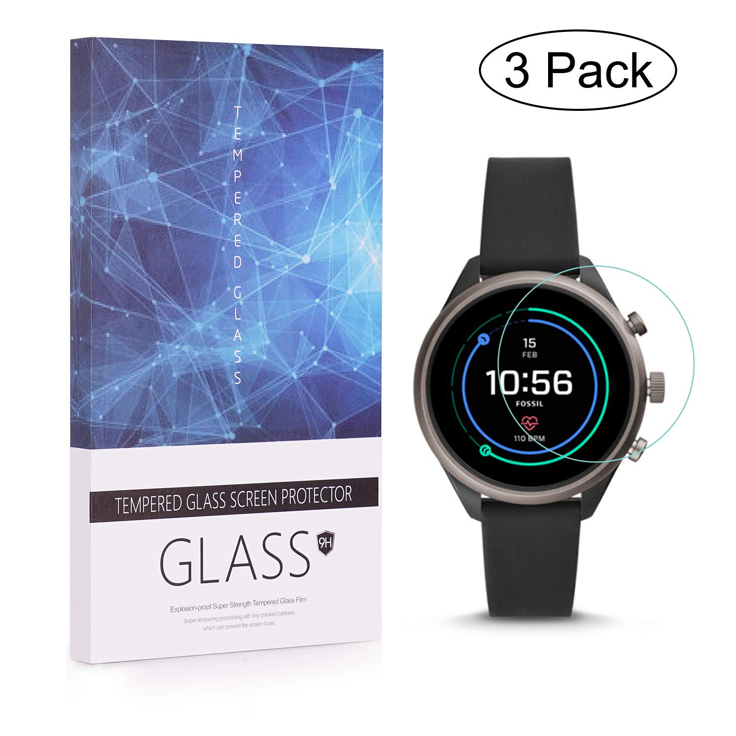 Amazon.com: [3 Pack] Tempered Glass Foils Compatible Fossil ...