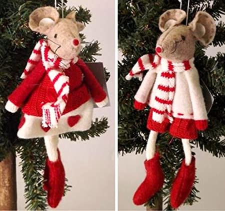 gisela graham red white felt mouse christmas decorations set of 2 by - Christmas Mouse Decorations