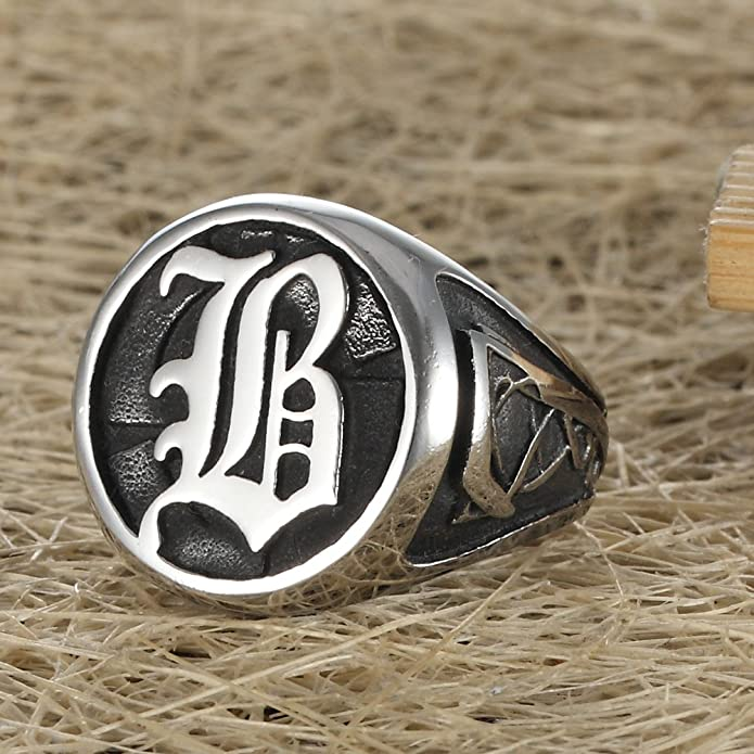 Amazon.com: Joyería gótica Letra B clásico anillo del motor ...