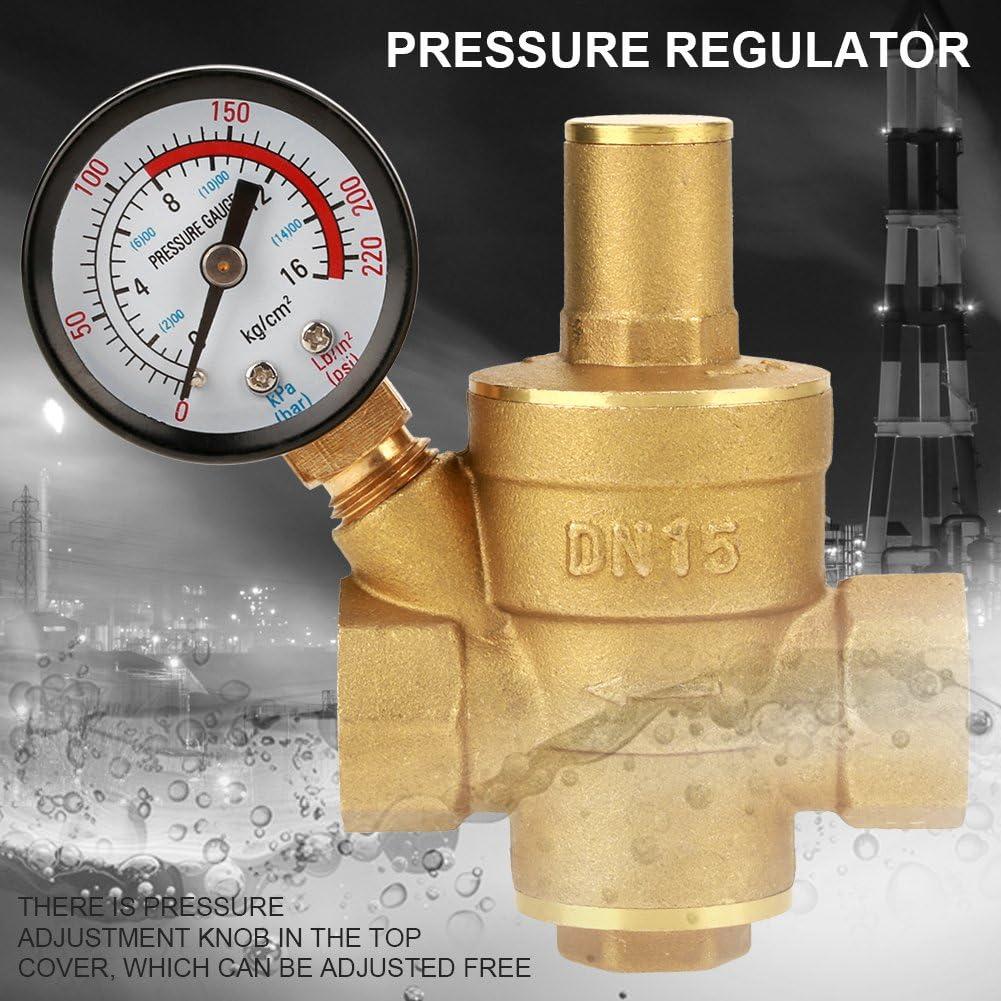 Water Pressure Regulator Adjustable DN15 Brass Water Pressure Regulator Reducer with Gauge Meter