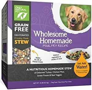Only Natural Pet Wholesome Homemade Stew Dehydrated Dog Food - Human Grade Formula That Contains Real Wholesome Nutrition, Low Glycemic, Non-GMO - Poultry Recipe 18 lb Box (Makes 56 lbs of Food)