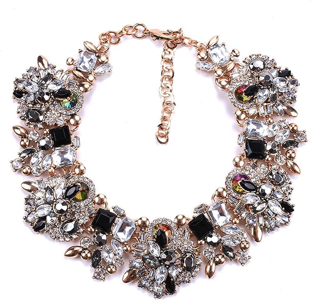Women Bib Choker Collar Charm Crystal Chain Pendant Flower Statement Necklace