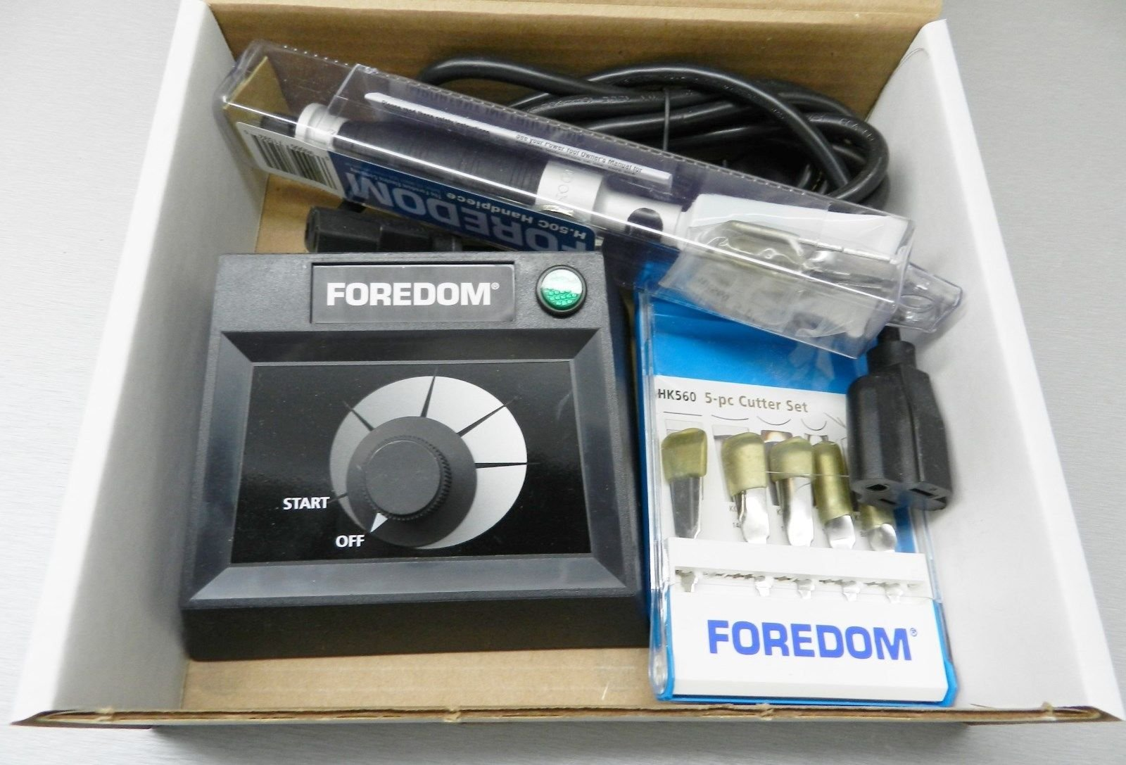 Foredom K.EMX-50 Chisel H.50C Handpiece Table Top Control+11-Chisels Woodcarving