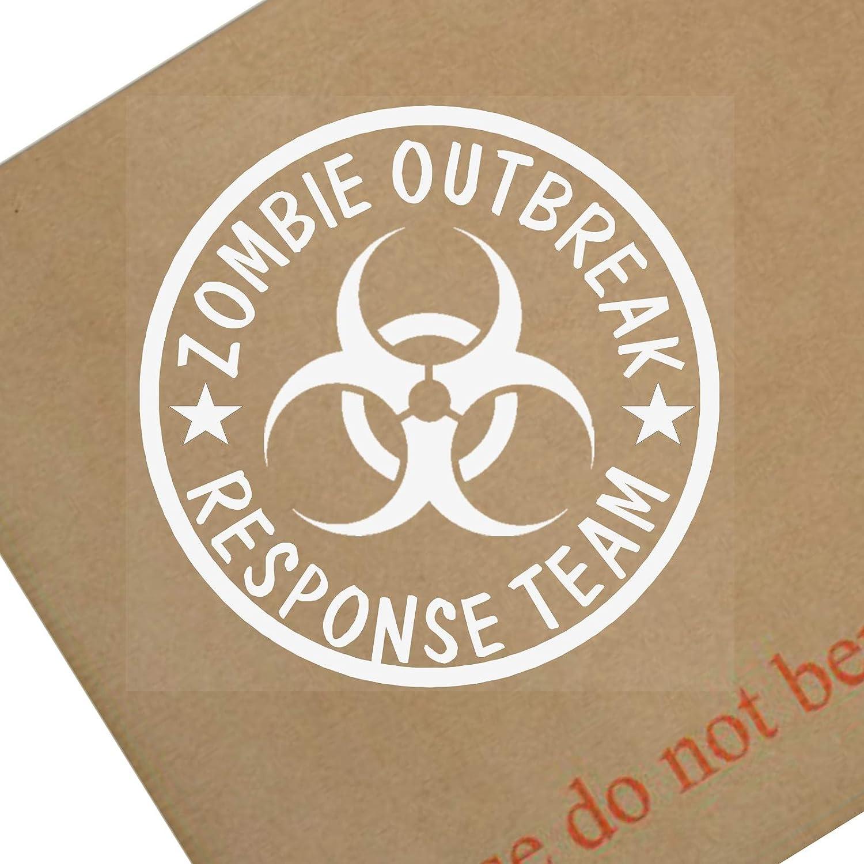 Platinum Place 1 x Zombie Outbreak Response Team-Internal Window Sticker-87x87mmWhite on Clear-Car,Van,Truck,Vehicle Self Adhesive Vinyl Sign