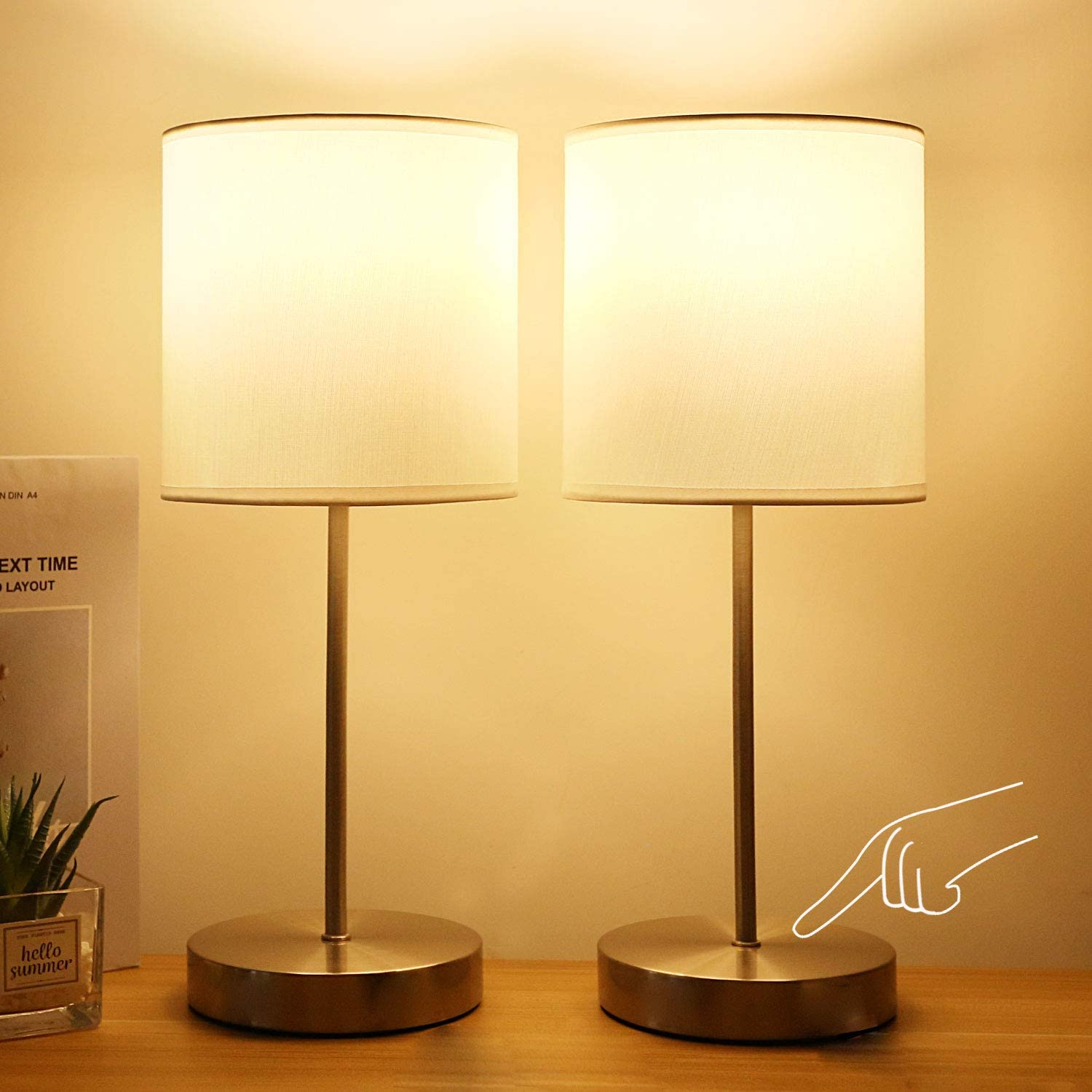 Touch Table Lamps for Bedroom, 3-Way Dimmable Modern Small Bedside Lamp for Nightstand for Kids Reading, Living Room & Office, w White Cylindrical Shade and Metal Base, Bulb Included