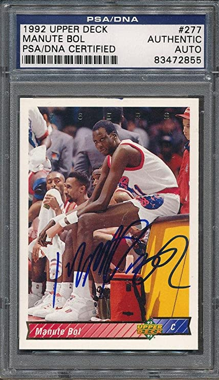 8b361f76eab1 1992 93 Upper Deck  277 Manute Bol Certified Authentic Auto  2855 - PSA