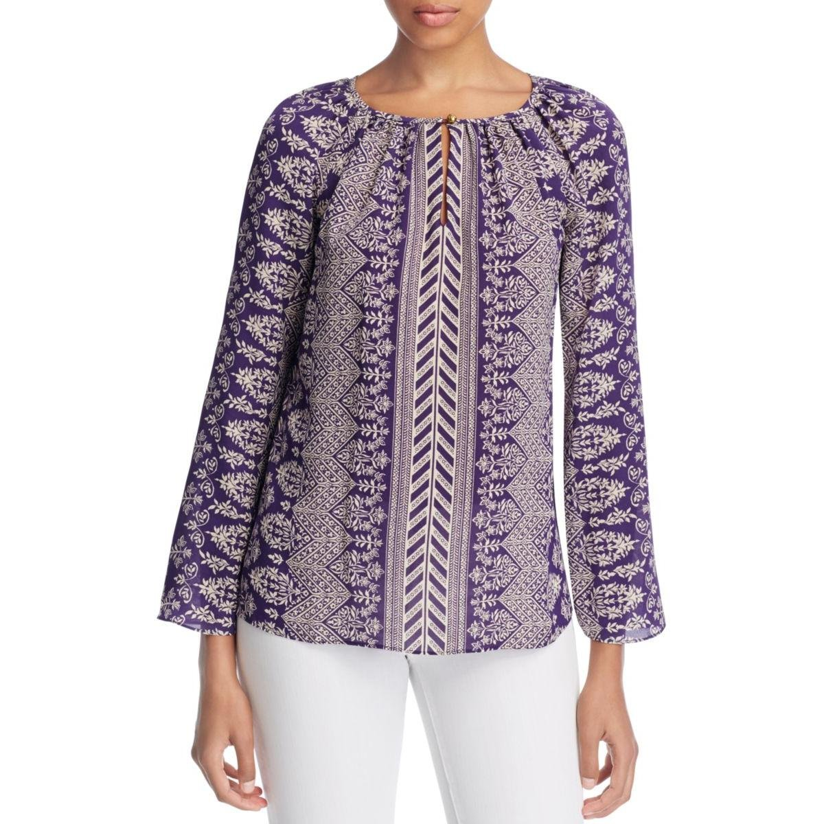 Tory Burch Womens Silk Printed Casual Top Purple 14