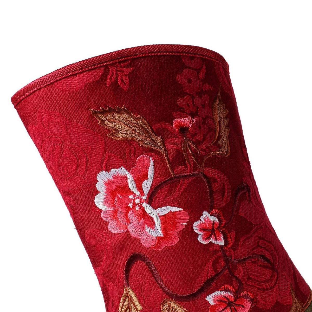 Hy Damenstiefeletten, Baumwolltuch Herbst Winter Plus warme Winterstiefel aus aus aus Kaschmir, Damen erhöhen Nationale Wind Besteickte Keilabsatz Freizeitschuhe (Farbe   Rot, Größe   38)  d37a8d