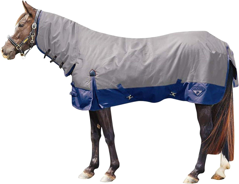 (サクソン) Saxon 馬用 600デニール コンボネック ミディアム III ターンアウトラグ 馬着 乗馬 ホースライディング ネイビー/ライトブルー 4フィート